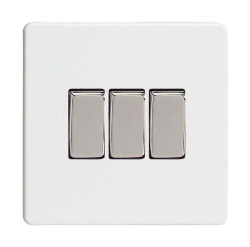 Varilight XDQ3S Screwless Premium White 3 Gang 10A 1 or 2 Way Rocker Light Switch